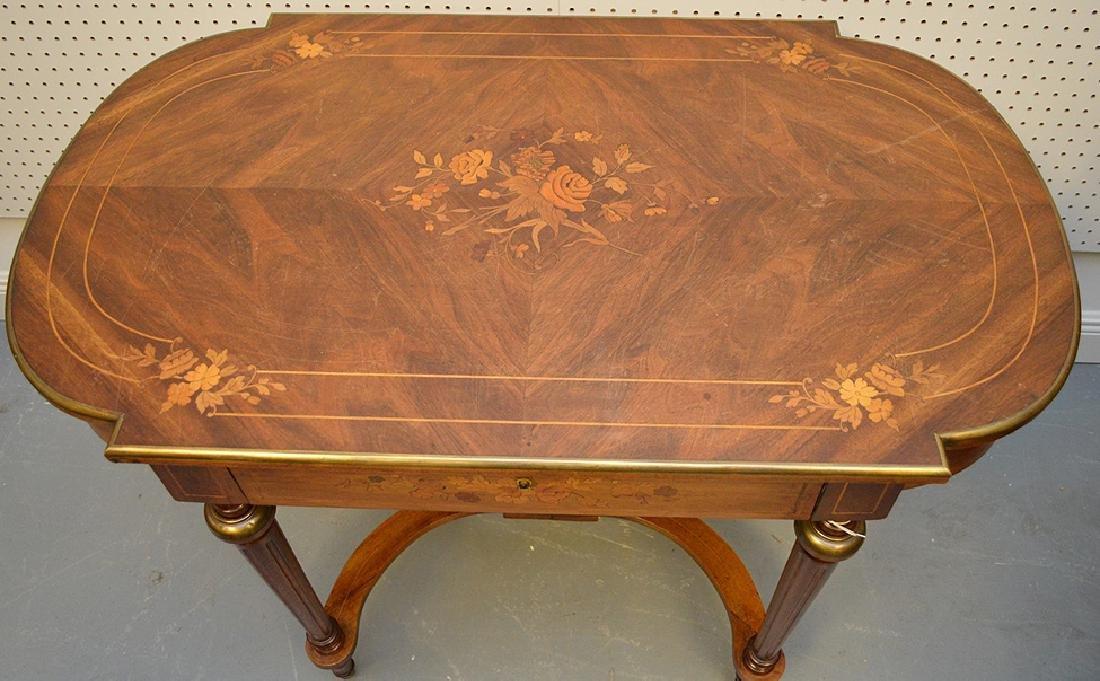 Antique French Napoleon III Period Inlaid Table, circa - 3