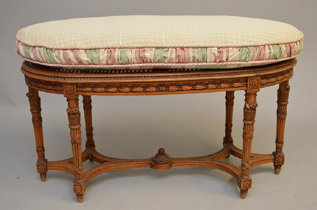 """Oval French caned bench with custom cushion, 19 1/2""""h x"""