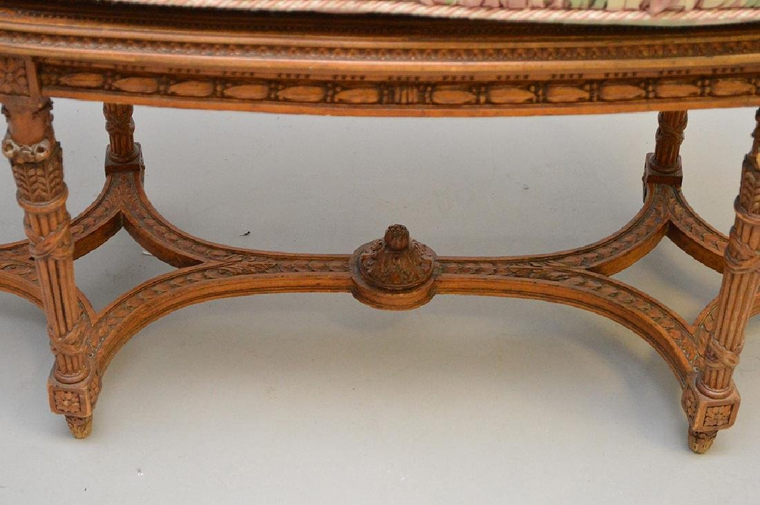 """Oval French caned bench with custom cushion, 19 1/2""""h x - 2"""