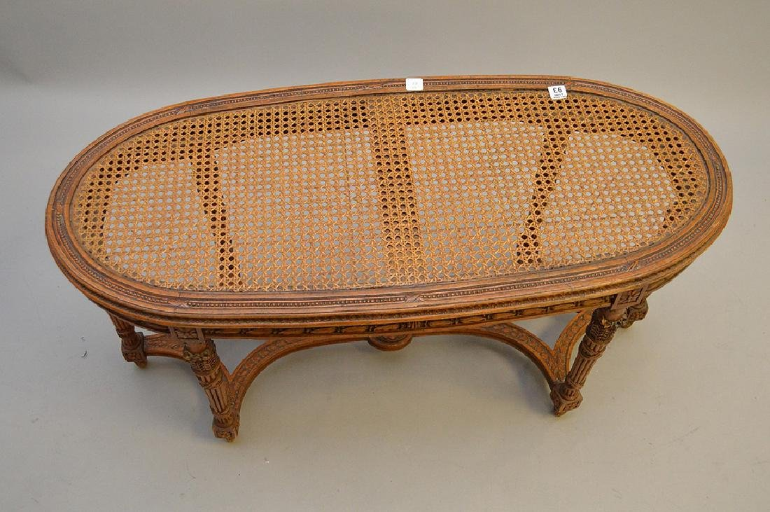"""Oval French caned bench with custom cushion, 19 1/2""""h x - 3"""