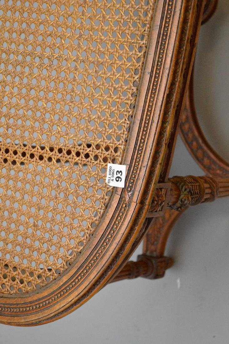 """Oval French caned bench with custom cushion, 19 1/2""""h x - 4"""