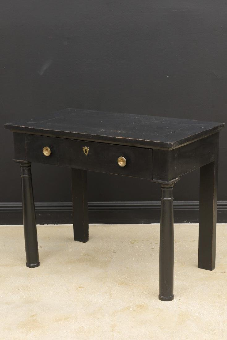 Antique French Empire Period Lacquered Console Table, - 3