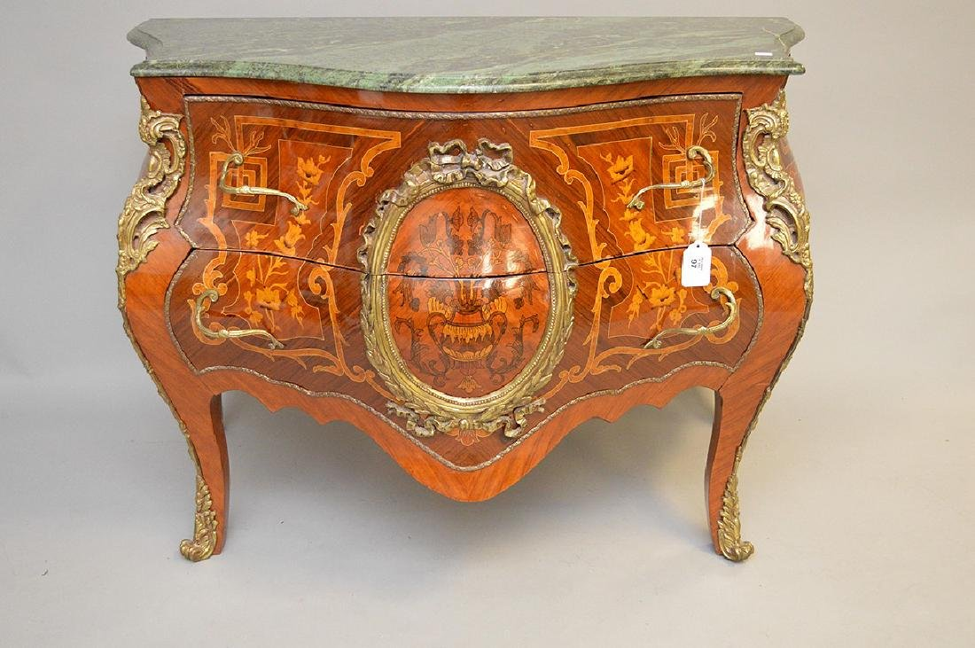 French marquetry commode with green marble top, 34