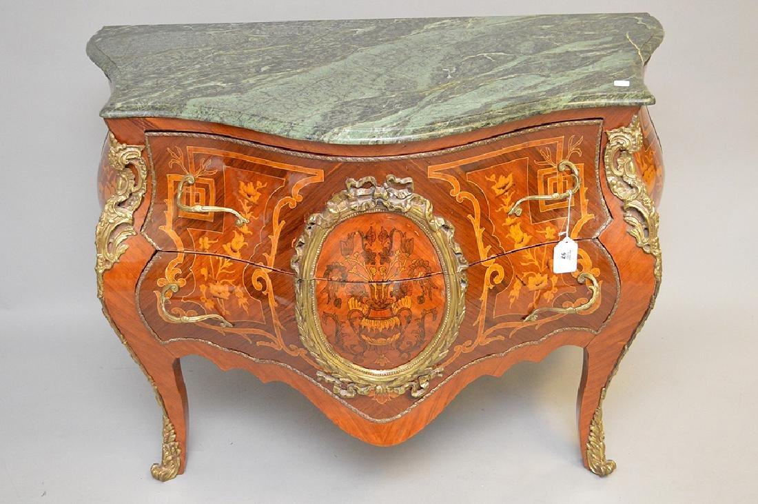 French marquetry commode with green marble top, 34 - 2