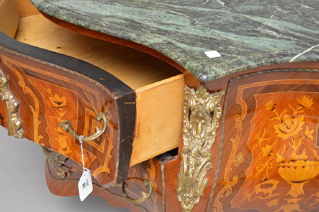 French marquetry commode with green marble top, 34 - 7