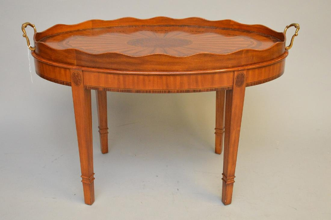 Maitland Smith tray table, removable tray with handles,