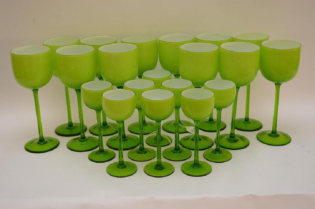 20 Carlo Moretti Murano Glass Wine Stems.  12 Glasses