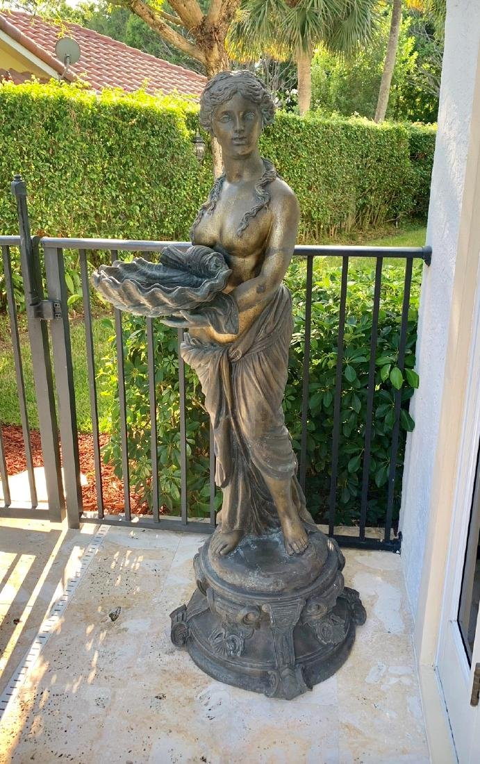 Large Bronze Classical Maiden with shell.  Condition: