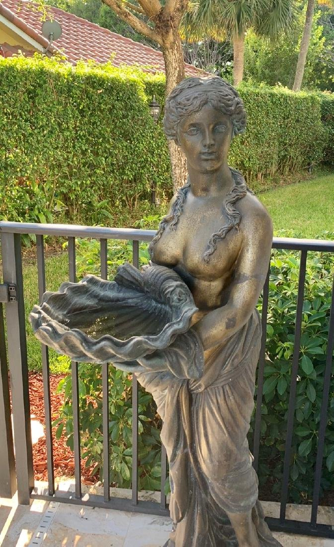 Large Bronze Classical Maiden with shell.  Condition: - 2