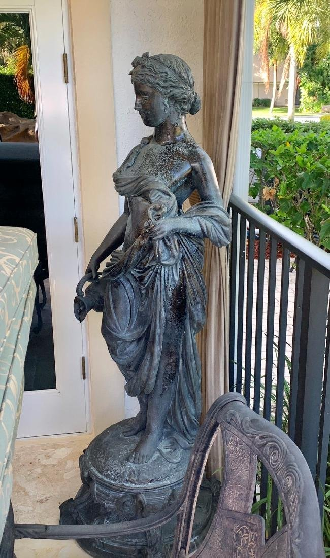 Large Bronze Classical Maiden with jug.  Condition:
