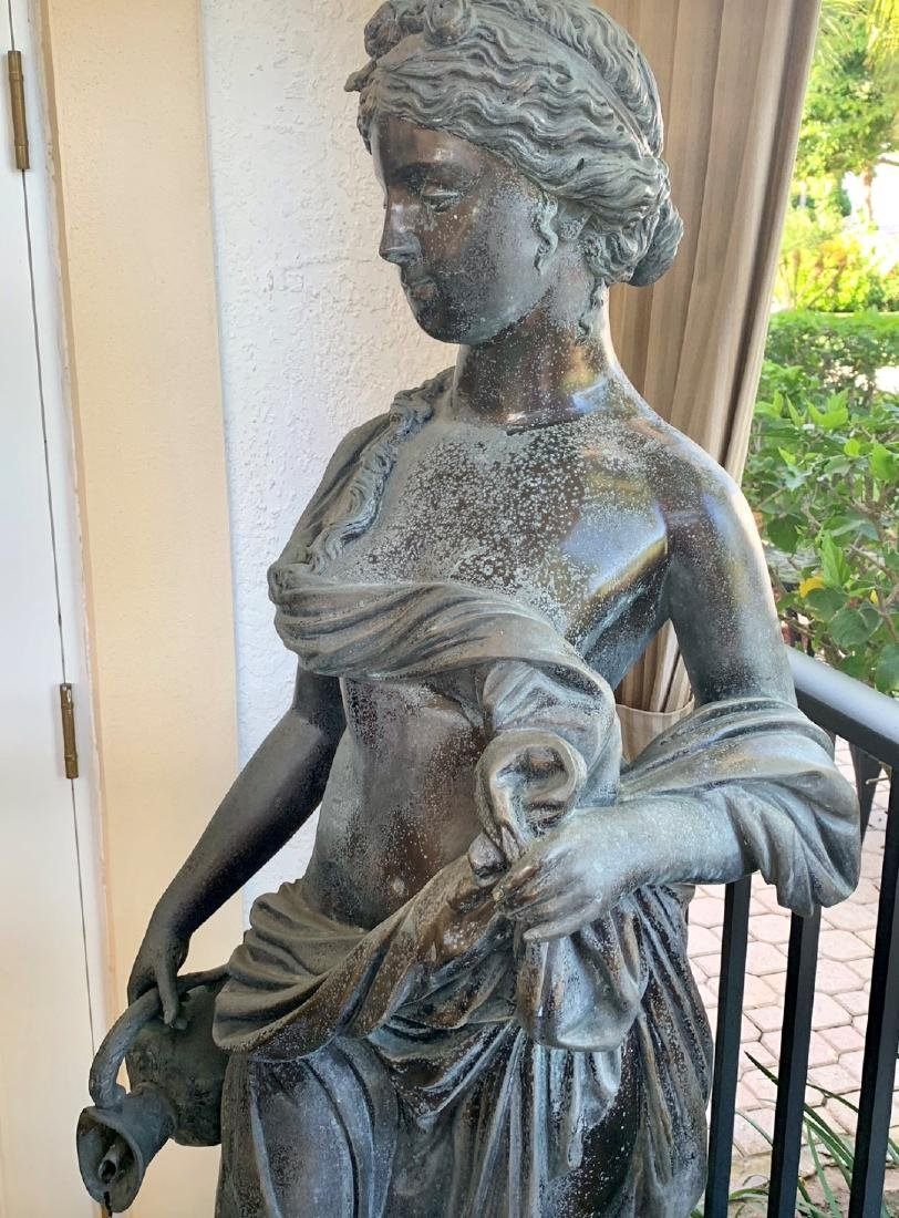 Large Bronze Classical Maiden with jug.  Condition: - 3