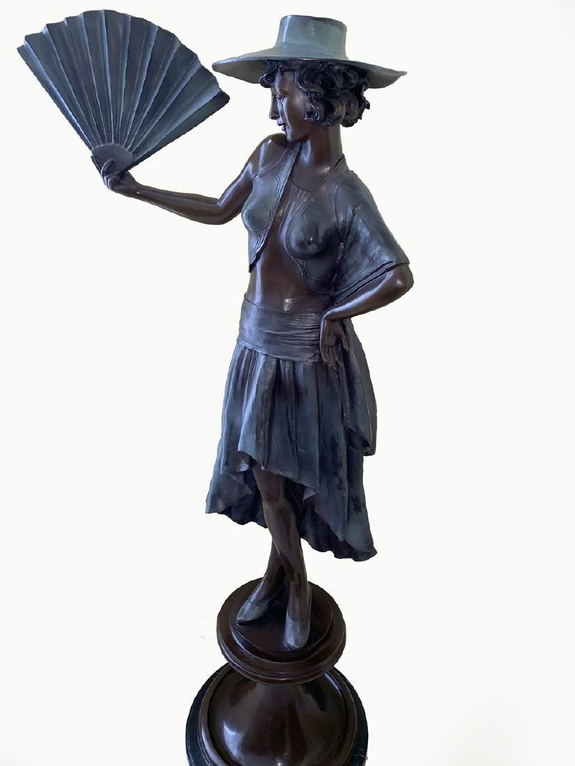 """Large Jim Davidson Bronze Sculpture """"Lady With Fan""""."""