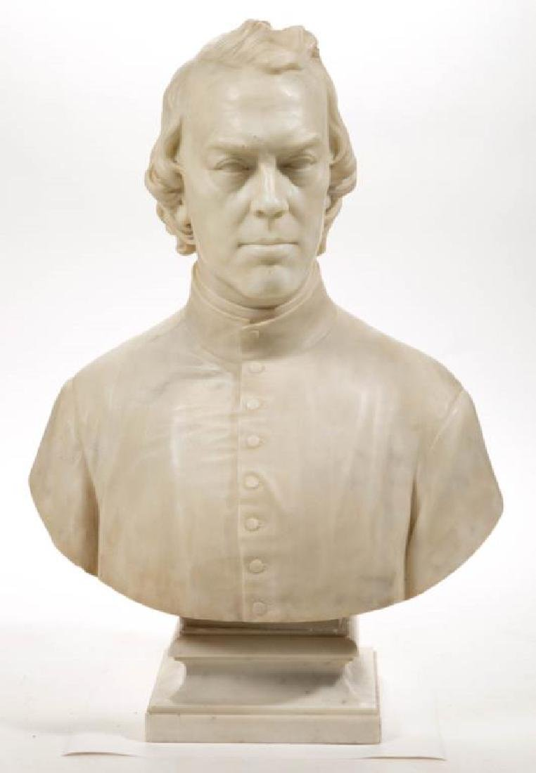 ITALIAN CARVED MARBLE BUST OF REVEREND FRANCIS BURLANDO