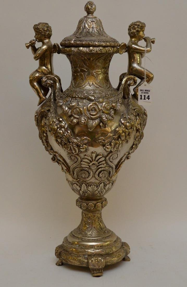 "Continental silver bronze urn, 21"" (no noticeable"