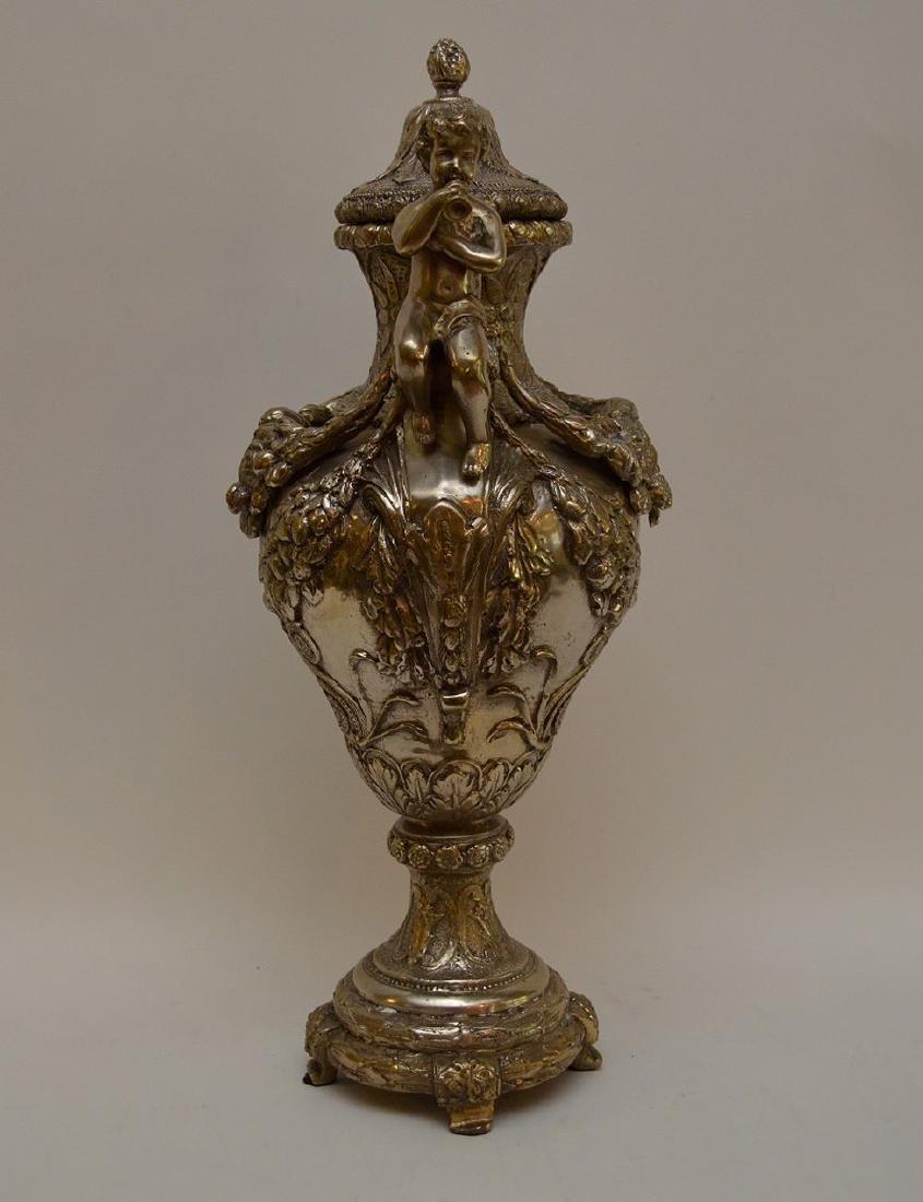 "Continental silver bronze urn, 21"" (no noticeable - 5"
