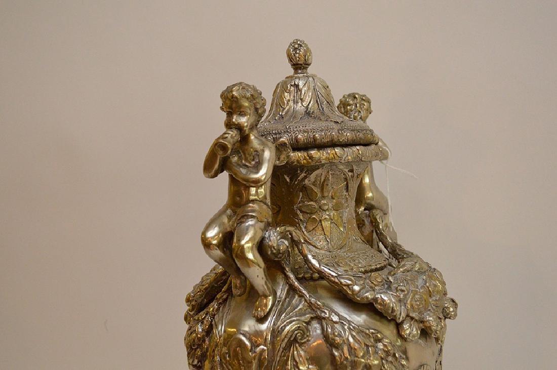 "Continental silver bronze urn, 21"" (no noticeable - 9"
