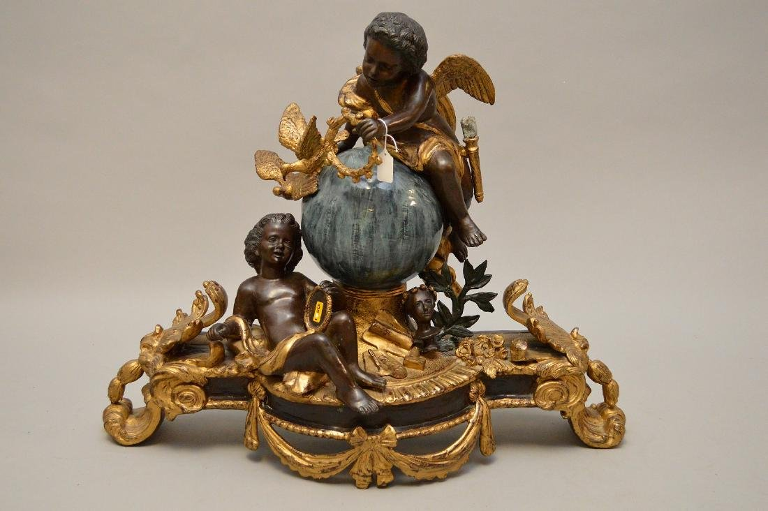 Large gilded and patinated bronze figural group