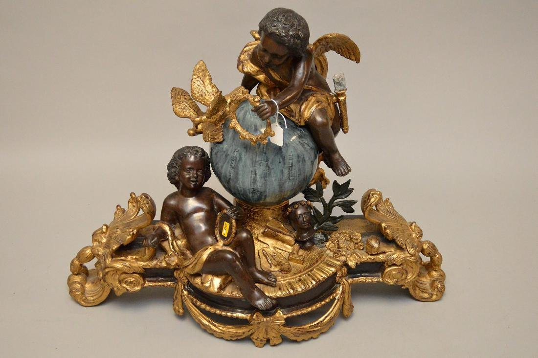 Large gilded and patinated bronze figural group - 4