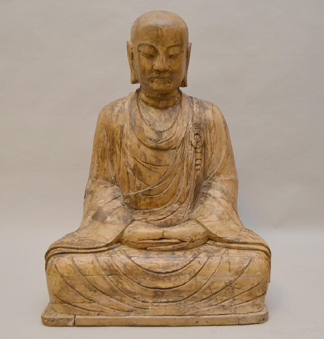 Antique Asian Carved Seated Buddhist Monk Sculpture