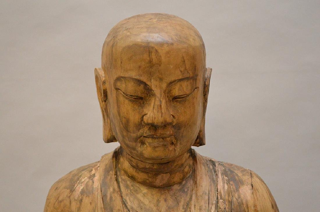 Antique Asian Carved Seated Buddhist Monk Sculpture - 2
