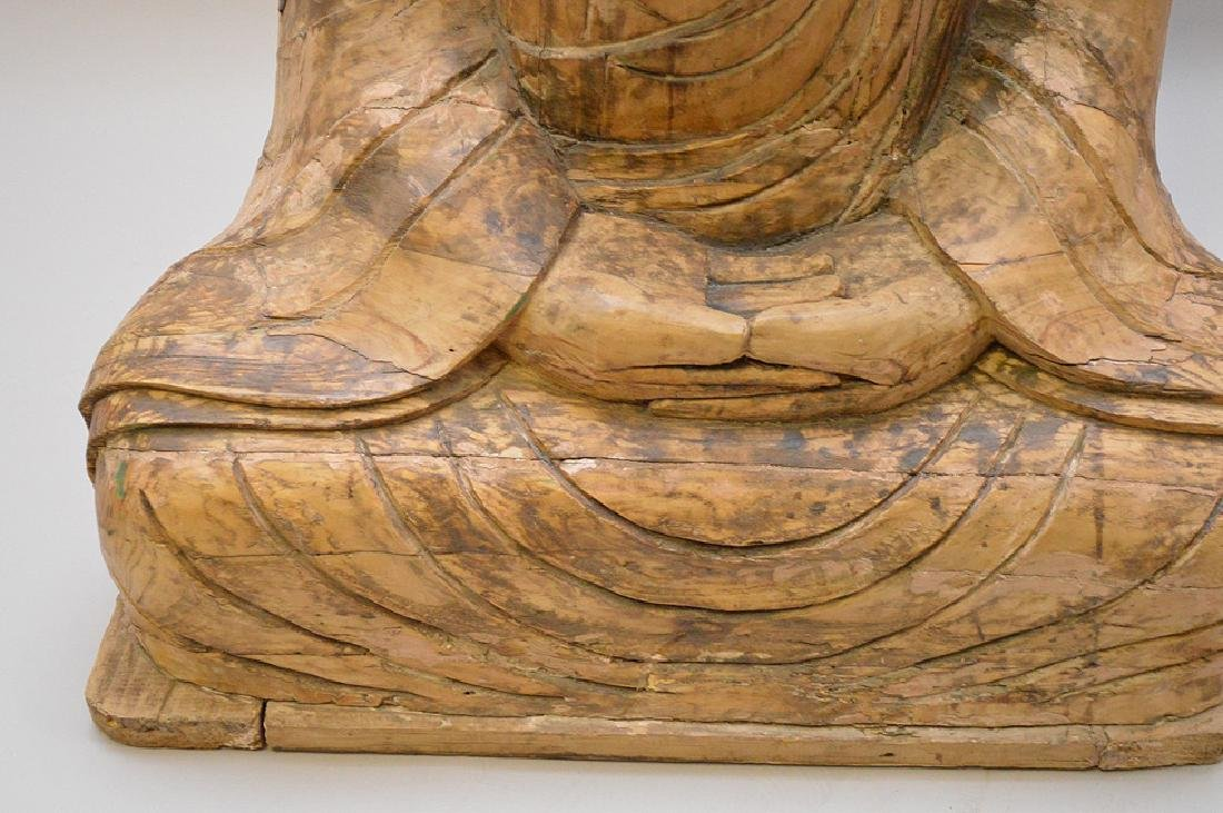 Antique Asian Carved Seated Buddhist Monk Sculpture - 3