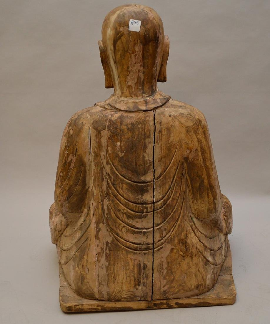 Antique Asian Carved Seated Buddhist Monk Sculpture - 5