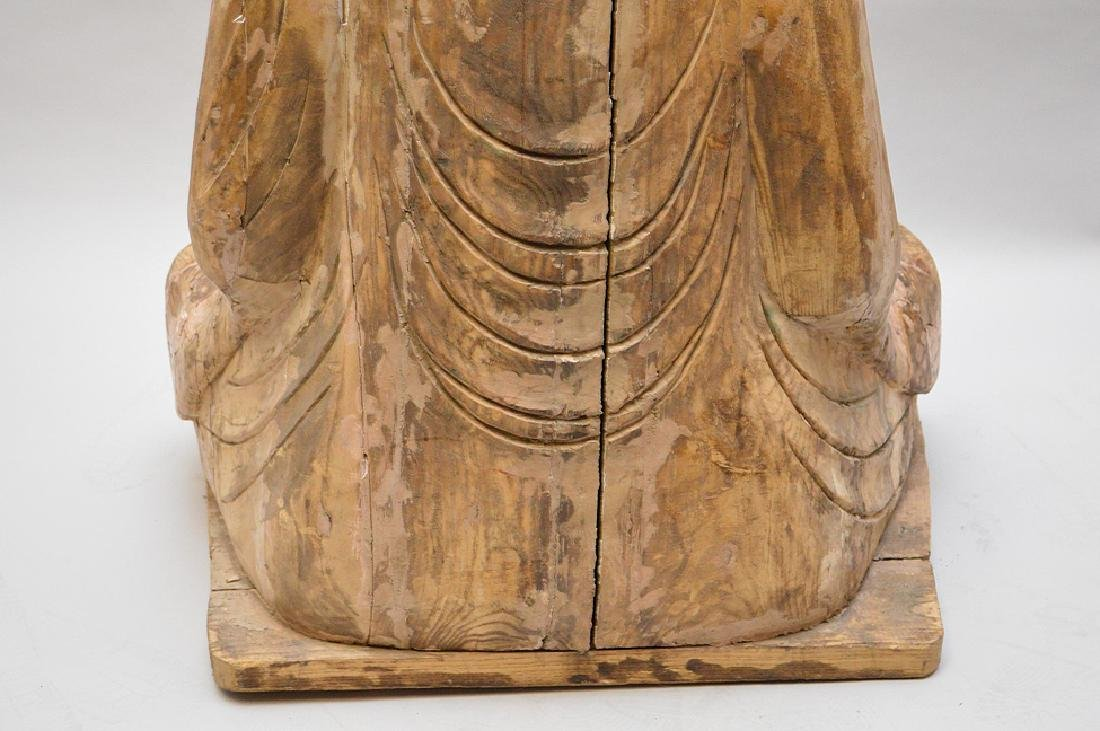 Antique Asian Carved Seated Buddhist Monk Sculpture - 6