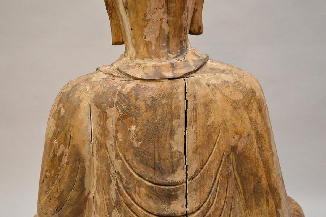 Antique Asian Carved Seated Buddhist Monk Sculpture - 7