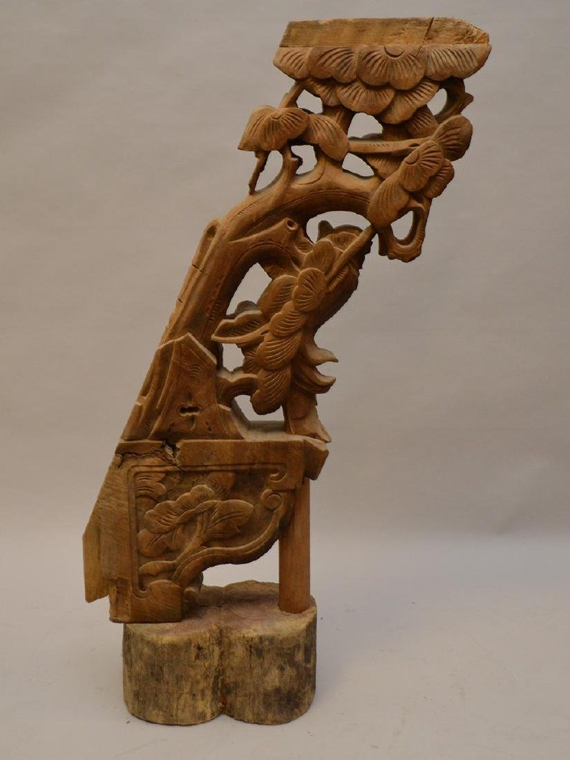 Antique Asian carved architectural piece, 39 inches - 2