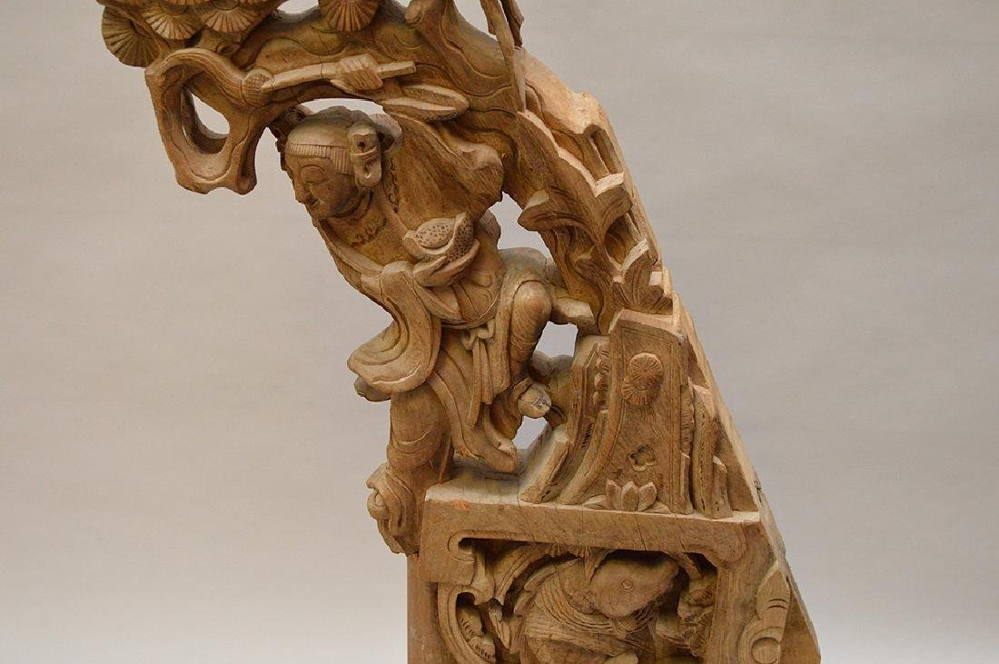 Antique Asian carved architectural piece, 39 inches - 4