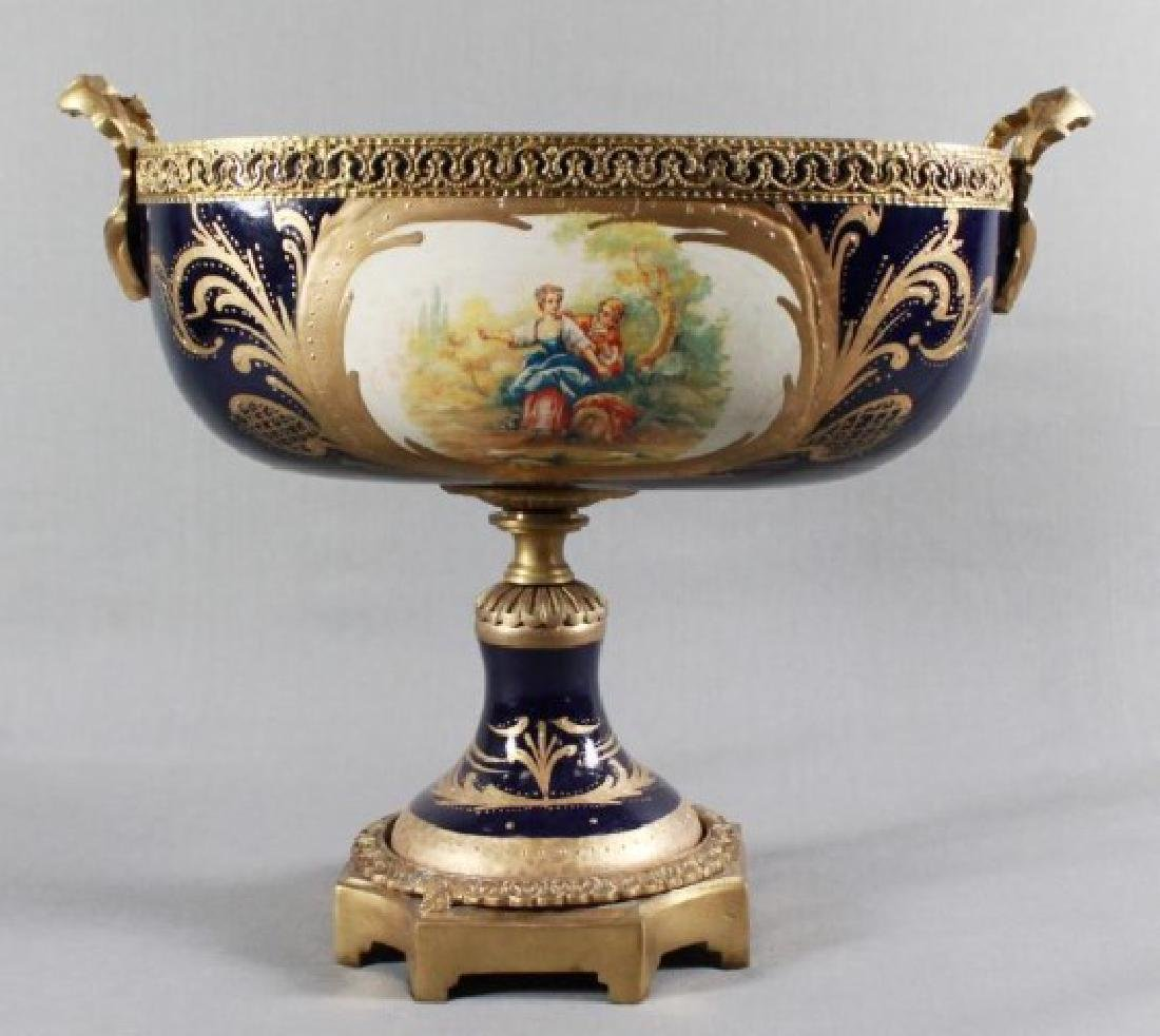 """SEVRES Style Center Compote. Size H: 14"""" W: 16"""" - 4"""