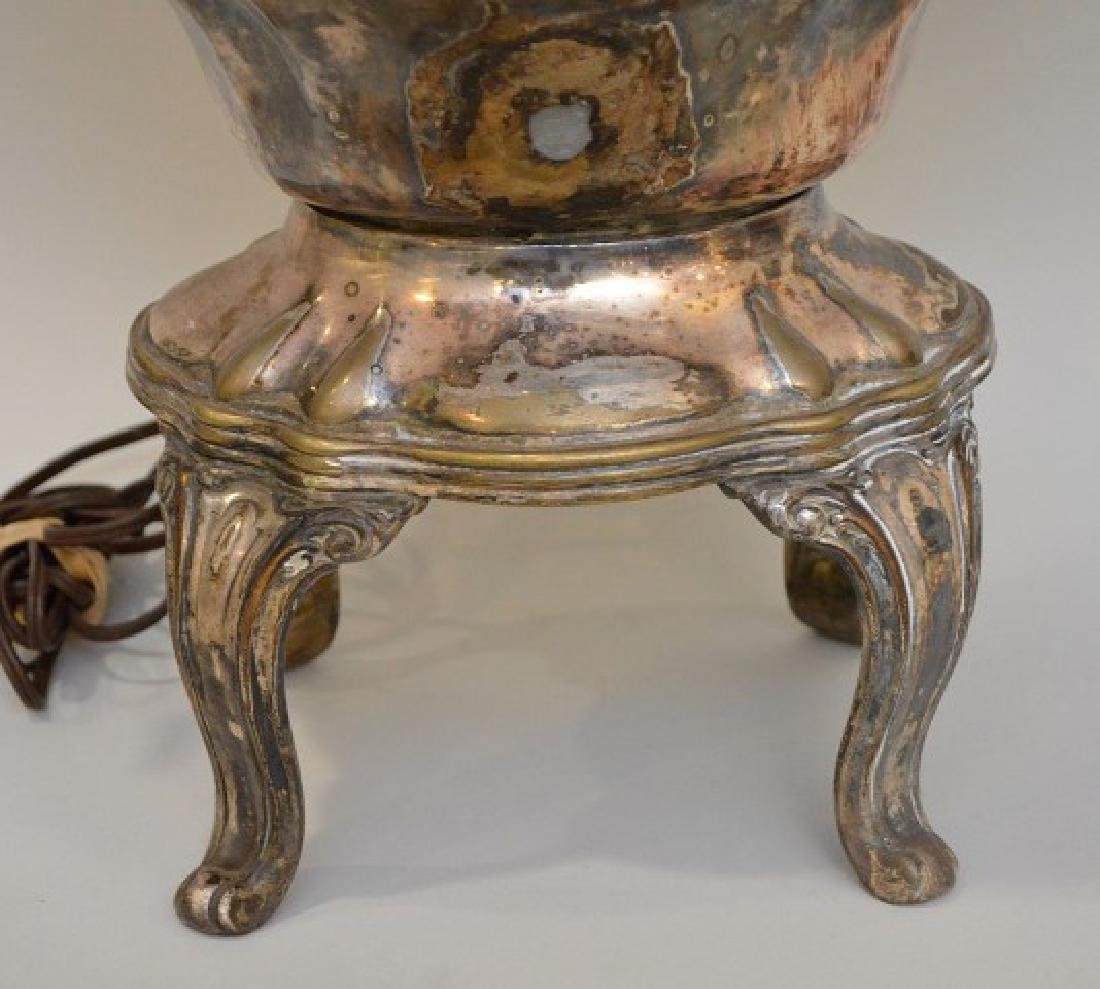 """Silver plate urn form lamp, 34""""h (to top of finial) - 4"""