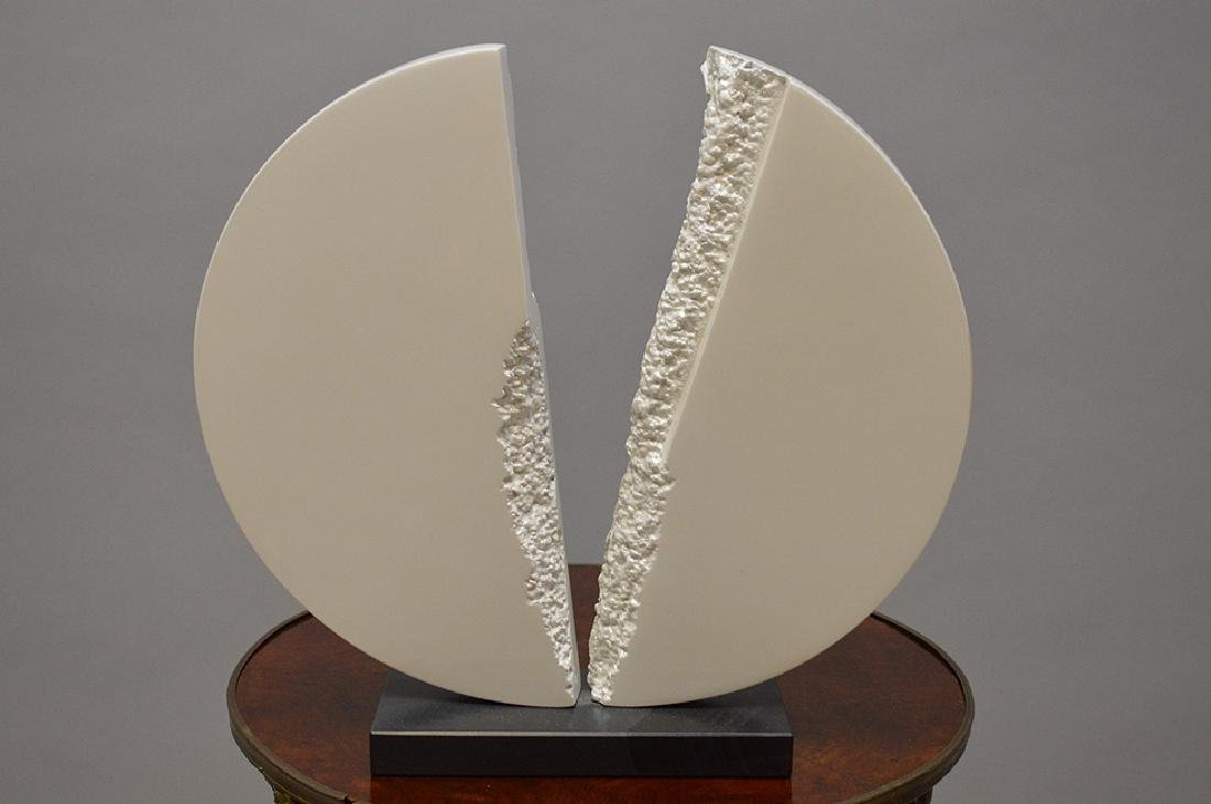 Metal Sculpture by James C. Myford, painted white,