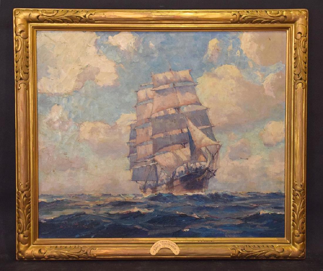 LARS THORSEN (CT, 1877-1952) Ship Painting DAUNTLESS,