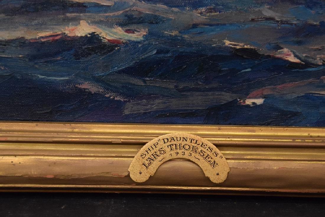 LARS THORSEN (CT, 1877-1952) Ship Painting DAUNTLESS, - 4
