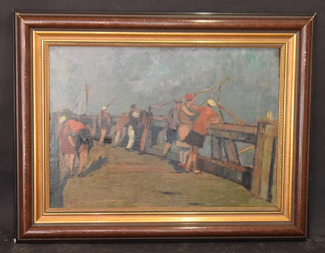 Frans Smeers (Belgium 1873 - 1960) on the pier, oil on