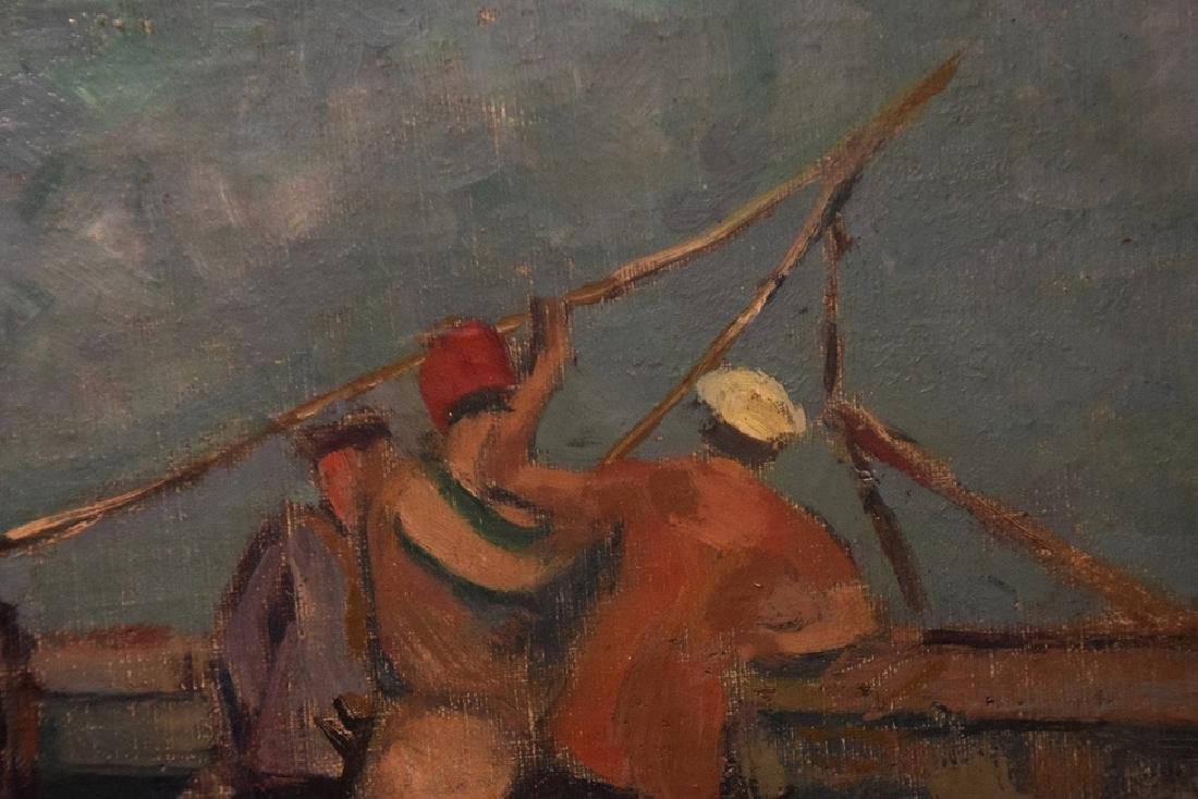 Frans Smeers (Belgium 1873 - 1960) on the pier, oil on - 3