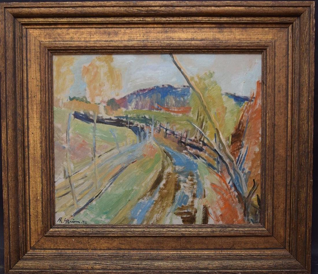 Randi Strom oil on board dated '45, country road,  15 x