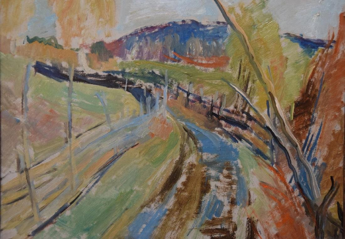 Randi Strom oil on board dated '45, country road,  15 x - 2