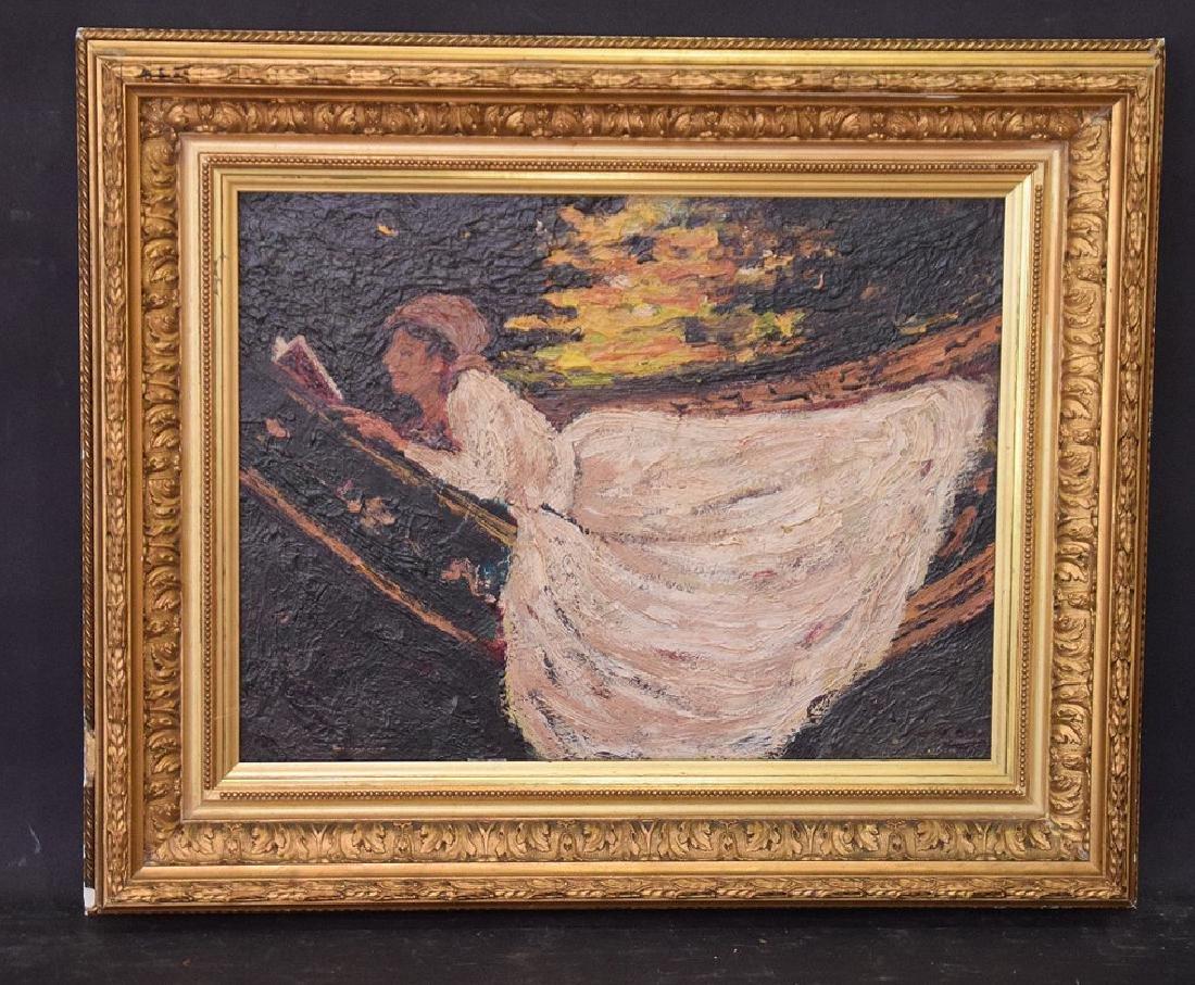 John Lavery (IRISH, 1856–1941) oil panel girl in Hamock