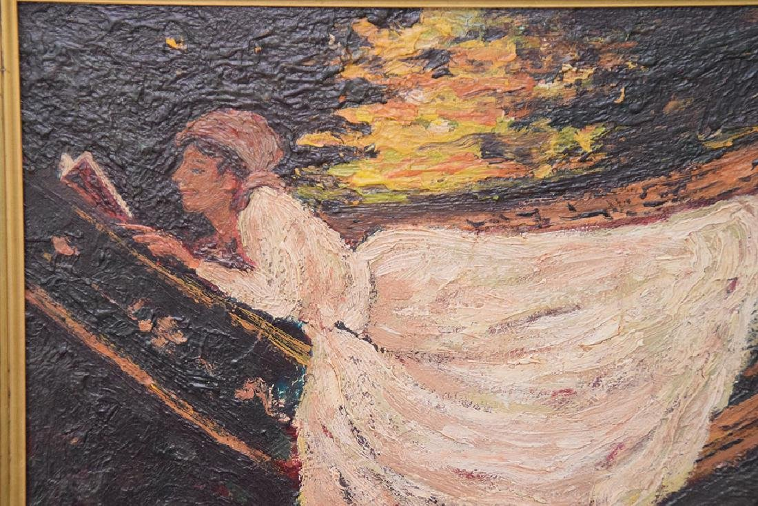John Lavery (IRISH, 1856–1941) oil panel girl in Hamock - 2