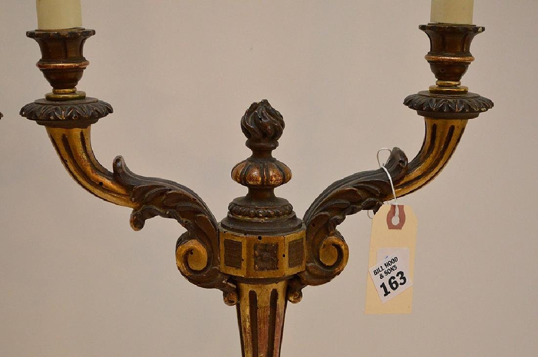 Pair of Italian Antique Giltwood Candelabra. Recently - 2