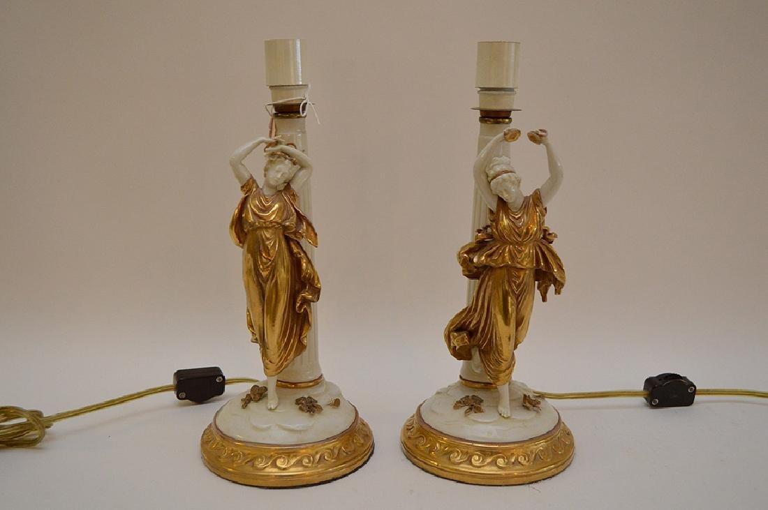 Pair of Antique Italian Capodimonte Nightstands Lamps,