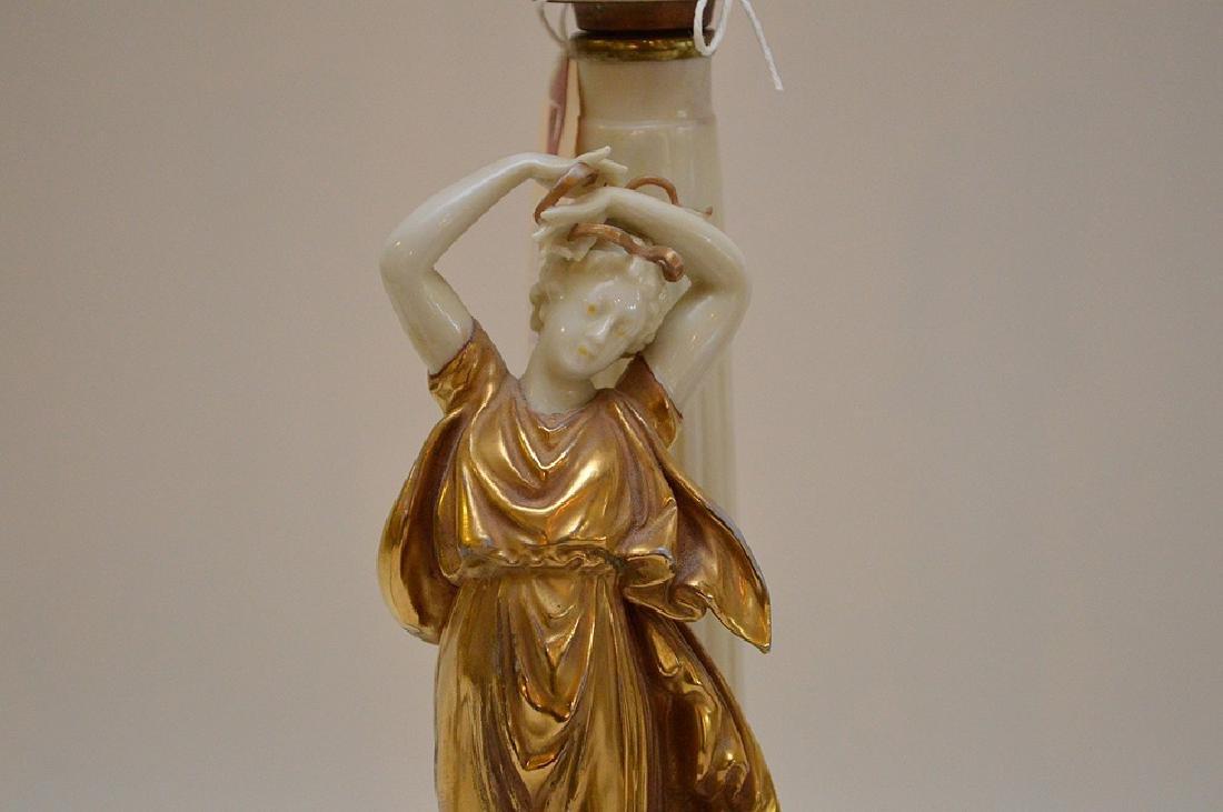 Pair of Antique Italian Capodimonte Nightstands Lamps, - 3