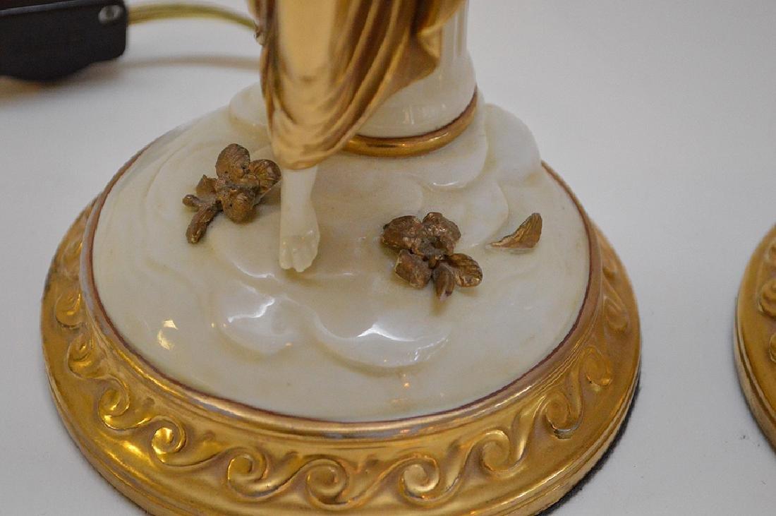 Pair of Antique Italian Capodimonte Nightstands Lamps, - 5