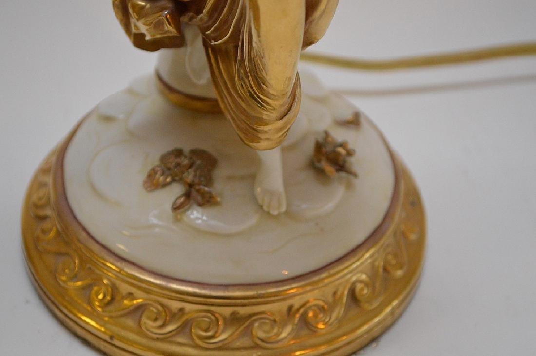 Pair of Antique Italian Capodimonte Nightstands Lamps, - 6