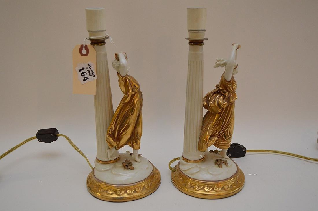 Pair of Antique Italian Capodimonte Nightstands Lamps, - 7