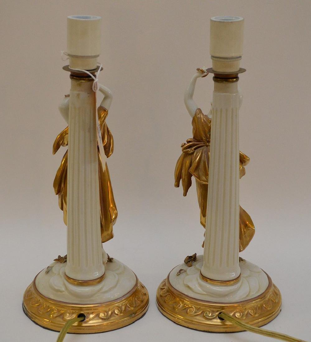 Pair of Antique Italian Capodimonte Nightstands Lamps, - 8