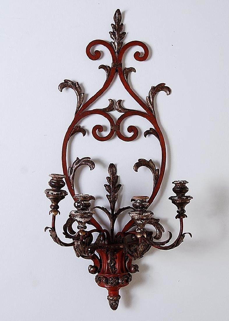 Italian Vintage Iron and Wood 4-light Sconce, Width: