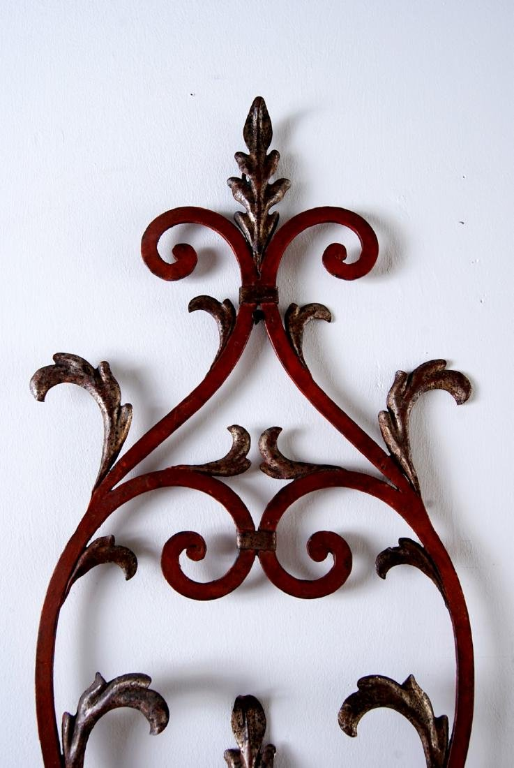 Italian Vintage Iron and Wood 4-light Sconce, Width: - 3